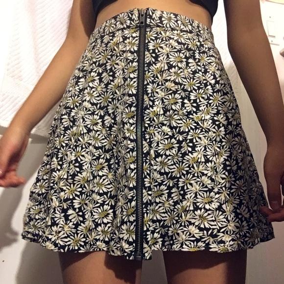 Cute Sunflower Zipper Flare Skirt